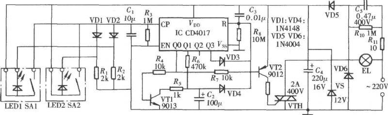 【图】基于cd4017的延时灯控制器控制电路 电路图 捷