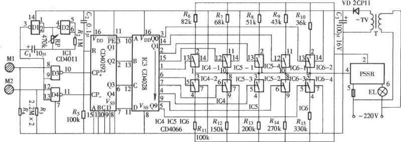 图示的触摸调光器采用一种参数固态继电器作主控元件,而不是通常所用的双向晶闸管。调光过程采用触摸方式,调节方便,电路组成如图所示。   本电路由触摸控制信号输入电路、步进控制脉冲发生器、脉冲信号加减计数器、脉冲信号译码分配器、十级控制开关和参数式固态继电器等组成。