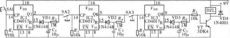 CD4017组成的时控式密码锁原理图