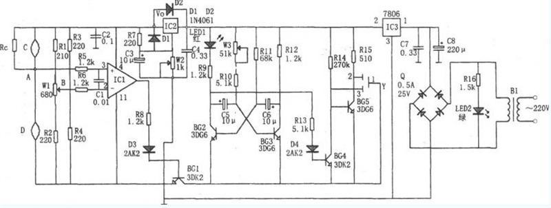 电压比较器,稳压电路,整流电路和报警电路等组成