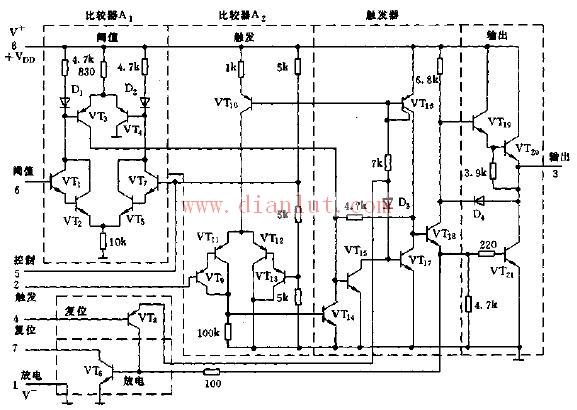 介绍ca555时基电路的内部等效电路