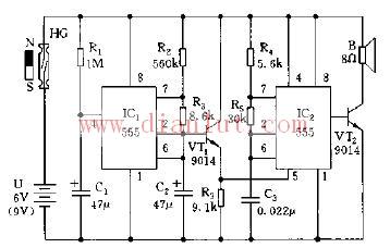 采用555集成芯片设计变音调多谐振荡器
