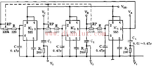 【图】采用555芯片构成闭环三相多谐振荡器其它电路