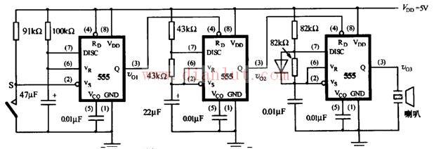 555定时器的功能主要由两个比较器决定。两个比较器的输出电压控制 RS 触发器和放电管的状态。在电源与地之间加上电压,当 5脚悬空时,则电压比较器C1的同相输入端的电压为2VCC/3,C2的反相输入端的电压为VCC/3。若触发输入端TR的电压小于VCC/3,则比较器C2的输出为0,可使RS触发器置1,使输出端OUT=1。如果阈值输入端TH的电压大于2VCC/3,同时TR端的电压大于VCC/3,则C1的输出为0,C2的输出为1,可将RS触发器置0,使输出为0电平。