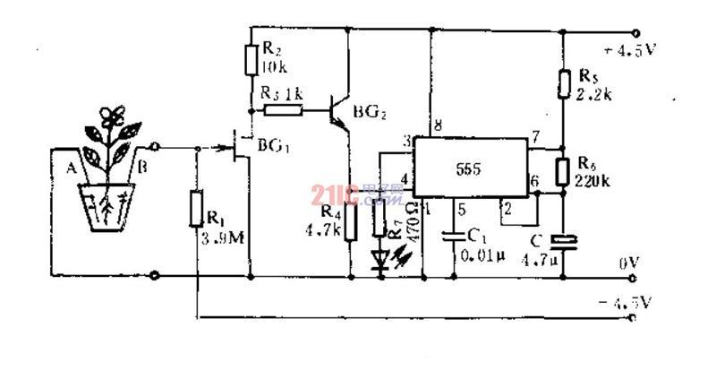 简易盆花缺水指示器电路原理图