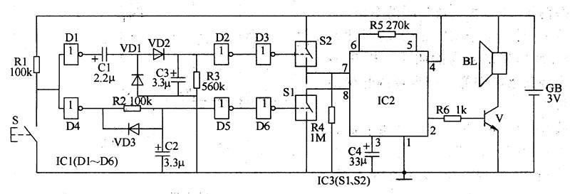【图】简易双音电子门铃电路原理其它电路图