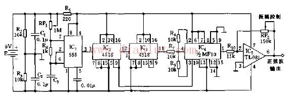 如图所示,IC1和RP1、R6、C3组成无稳态多谐振荡器,图中振荡频率可通过RP1来调节。   本电路中IC2、IC3均采用双BCD加法计数器,进行4级级联分额。IC4为新型开关电容滤波器MF10,对送入频率信号进行滤波,输出为标准的正弦基波。