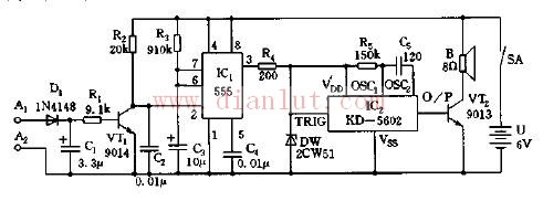 采用555集成的电子表定时闹响电路
