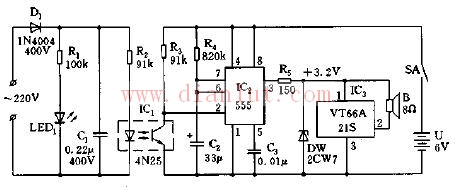 运用555集成电路的复电叮咚乐曲报讯器电路图