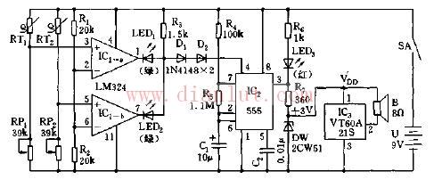 基于lm324设计多点温度上限声光报警电路