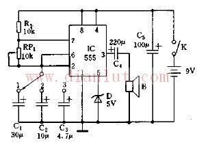 采用555电路的多档电子节拍器电路