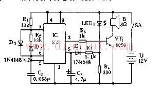 采用555构成中功率变音调警笛声发生器