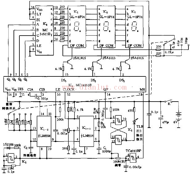 基于MC14553B三位数字显示电容表电路原理图