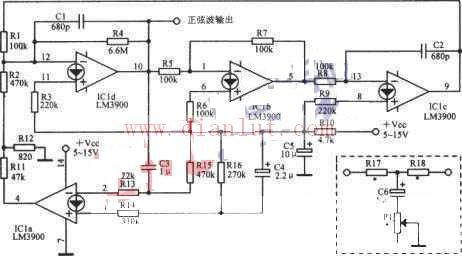 2.34kHz正弦波振荡器电路图简介