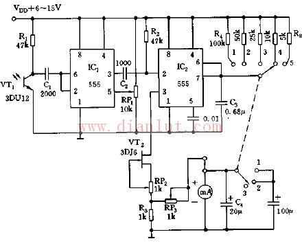 新型简易555光电转换转速表电路