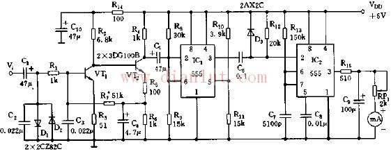 表电路    555定时器是一种模拟和数字功能相结合的中规模集成器件.