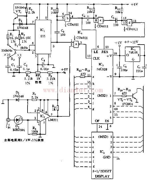 如图所示,多谐振荡器由IC1、R1、R2、C1、C2及VT1等组成。R3、VT1、D1等组成恒流充电电路,以保持器其充电的线性。换挡开关S1、S2可使IC1的输出选通脉冲提供1000ms、100ms、10ms和1ms的门脉冲。   IC2与R7、D2、R6等组成输入适配电路,用于接收0.3~0.9V的方波、正弦波或三角波。四2输入与非门IC4用来提供倒相和延时,C5、R10作为微分电路为IC4-b提供微分窄脉冲,并倒向输出。
