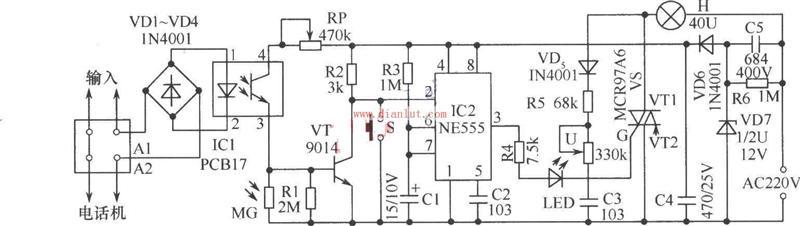 【图】555设计的声控延时台灯工作电路图其它电路图