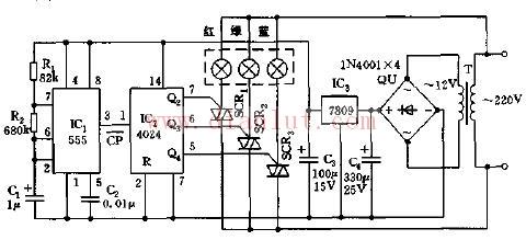 自动循环七色彩灯控制电路的原理电路图