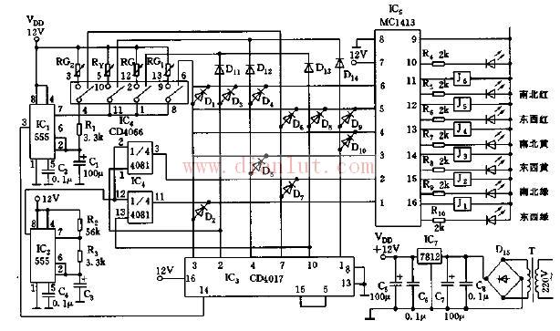 交通信号控制机电路原理图