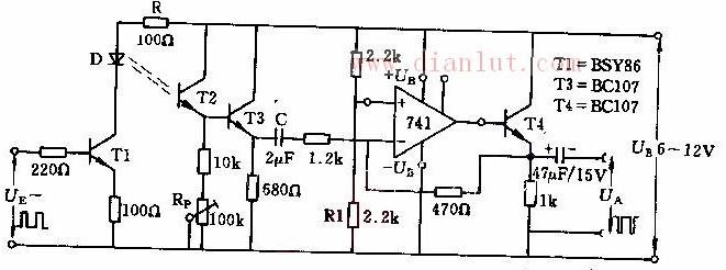 电路中晶体管T1用于控制频率约为lkHz的矩形脉冲,当信号电压大于+0.6V时,则T1导通,二极管D发光,其发光时间等于矩形波正半波时间。晶体管T2将脉冲光变换为脉冲电压,电位器RP可调整光敏晶体臂射极剩余电压,一般约1V。后接运算放大器放大倍数约400倍。最后一级为射极输出器T3,此时已把光脉冲信号变换为电压脉冲信号。 来源:
