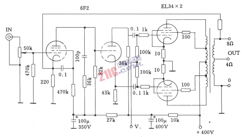 电子管Dynaco ST70功放电路的基本电路音频电路 电路图 捷配电子市场网图片