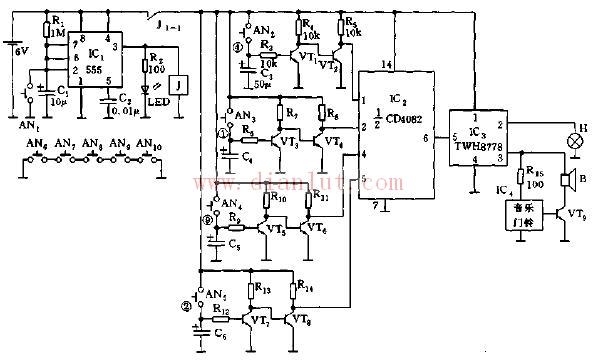 【图】基于555芯片的时控密码电子门铃电路其它电路