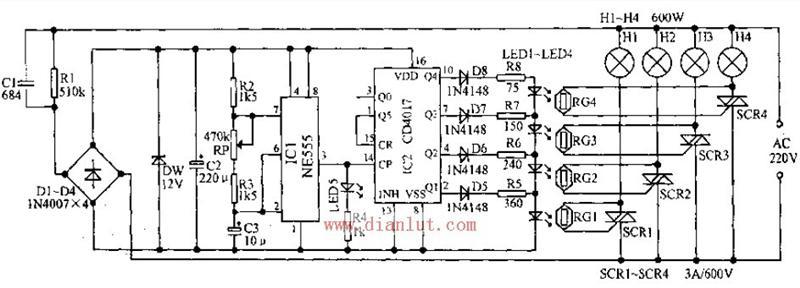 【图】由cd4019设计的霓虹灯循环发光控制器电路光电