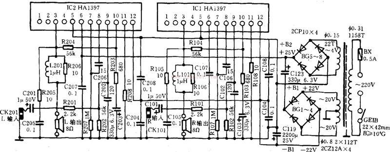 TDA2030A的优良性能使得它十几年来一直得到大家的疯狂喜爱,很多外表豪华的有源音箱、中档功放、低音炮也采用了TDA2030。    TDA2030A是单声道的功率放大集成电路,做立体声放大器必须使用两只TDA2030A.TDA2030A只有五只引脚,正电源、负电源、正向输入、反向输入和输出。TDA2030A的散热片是和负极连通的,用双电源供电时,散热片千万不要和地线短路。   本功放板采用双12V电源,TDA2030A工作在OCL方式。OCL是指不用音频输入、输出变压器和输出耦合电容,放大器直接推