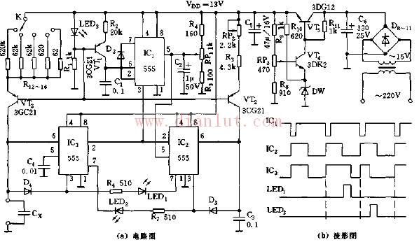 基于555的无表头电容测量仪电路