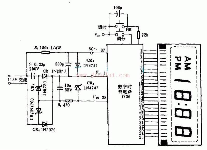 【图】基于amis1736设计的12或24小时时钟电路原理图