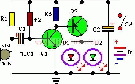 玩具娃姓眼睛发光电路原理图