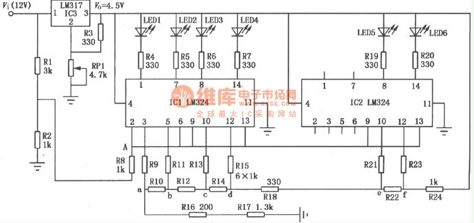 LM324设计的LED电压表电路脚本图