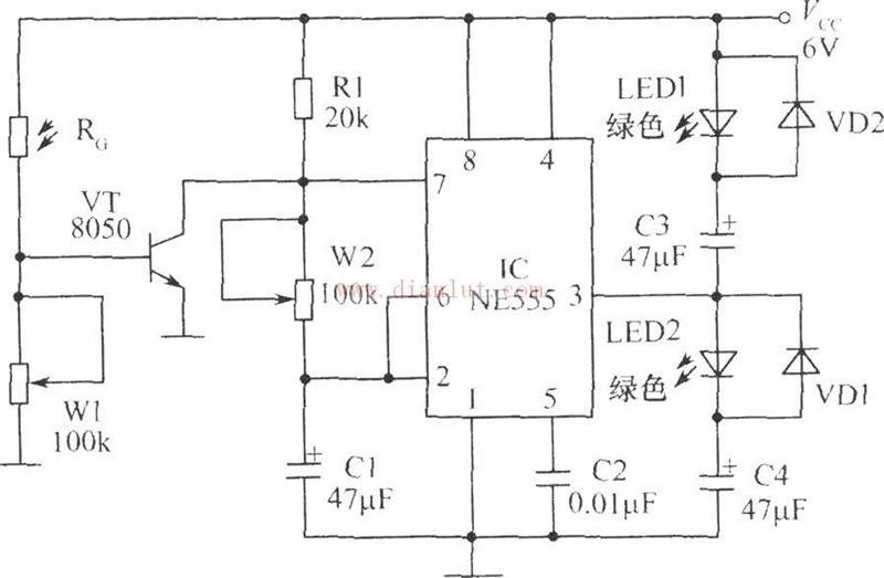 电子萤火虫工作原理及元件电路图
