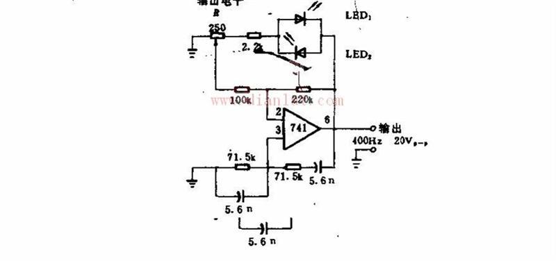 400HZ发光二极管与运算放大器联用正弦波电路