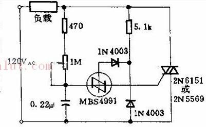 MBS4991制作的三端双向可控硅减光工作电路图