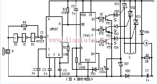 LM567和CD4017的接收电路