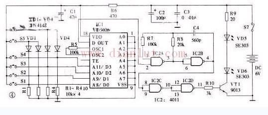 红外发射器电路如图所示。IC1为编码器集成电路VD5026,和它配对的译码器集成电路为VD5027或VD5028.VD5026的~脚为地址端A0~A7,~脚为数据端D0~D3(和VD5028配合使用时可作地址端A8~A11),脚为编码信号输出端,其输出信号对IC2A、IC2B等组成的40kHz脉冲发生器的信号进行调制。调制后的脉冲信号经IC2C、IC2D后由VT1推动红外发光二极管VD5、VD6发射红外线。IC2C、IC2D有缓冲和整形的作用。R5为编码器VD5026的振荡电阻,它和配对的解码器V