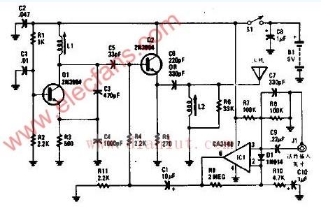 信号送给作为调制器的晶体管q2.   运算放大器   ic1放大音图片