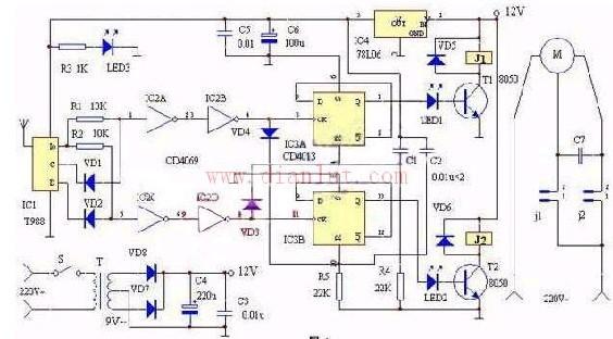 电动窗帘遥控装置的原理及电路