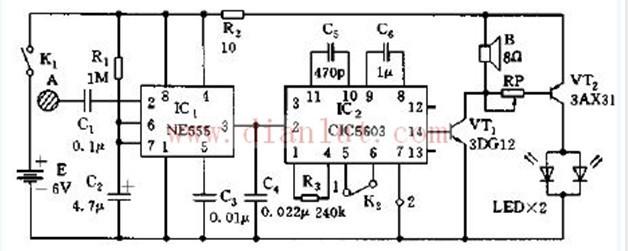 电路cic5603,2脚一有触发电平信号,则其内部存储器启动,通过扬声器