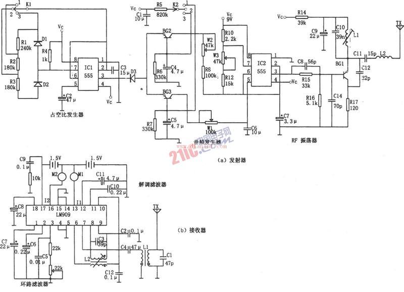 基于NE555和LM909的多功能遥控电路