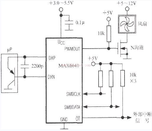 SMBus总线与智能温度控制器MAX6641构成的应用电路