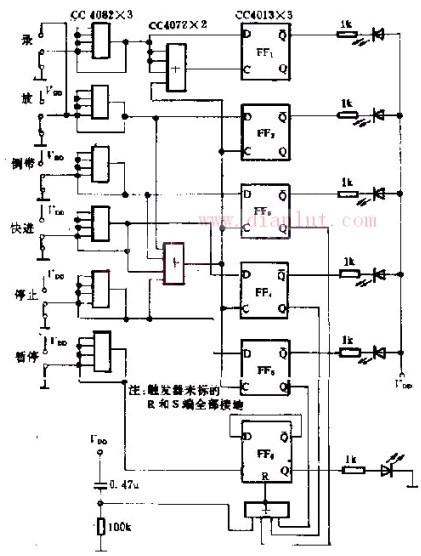 【图】基于cc4082构成的录音机遥控显示电路光电电路
