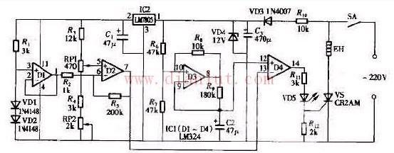 电路    如图所示,温度传感器采用两只硅开关二极管vd1和vd2串联后代