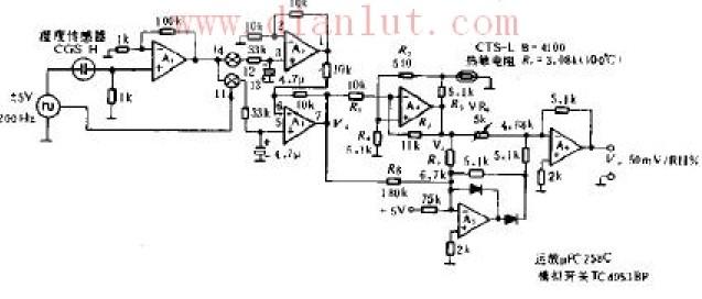 用于低温度检测的电路原理图