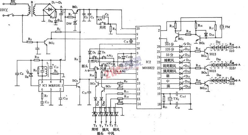 【图】长城fs22-40电风扇红外遥控电路原理图光电