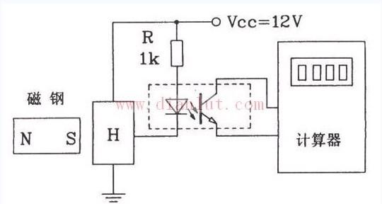 霍尔接近开关组成的计数器的原理电路