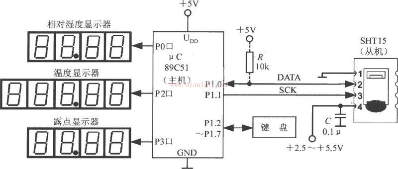 以SHT15与89C51构成的测试相对湿度系统的电路图