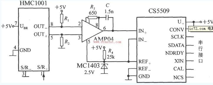单轴磁场传感器基于HMC1001的应用电路